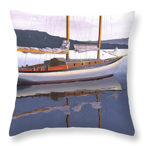 Schooner Throw Pillow featuring the painting Schooner at dusk by Gary Giacomelli
