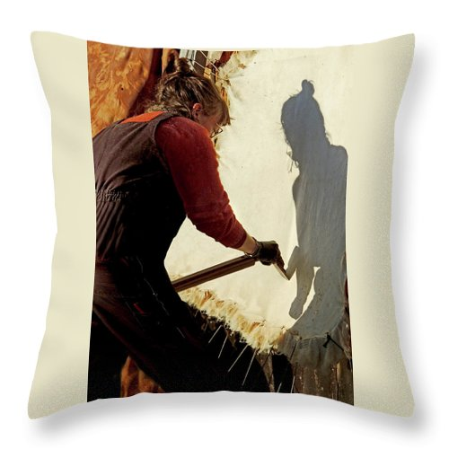 Native American Throw Pillow featuring the photograph Scraping with Spirit by Nancy Griswold