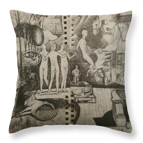 Orions Belt Throw Pillow featuring the drawing Second half of sketch for, Time immutable, OrionsBelt, and the New Madrid Straight by Jude Darrien