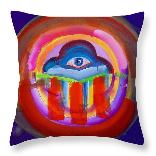 Button Throw Pillow featuring the painting See No Evil by Charles Stuart