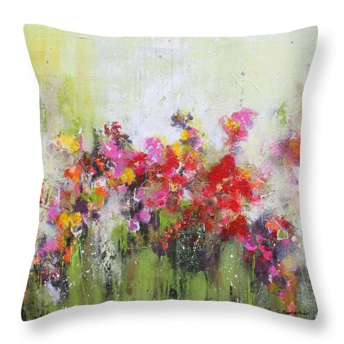 Flowers Throw Pillow featuring the mixed media Seeds of love by Claudia Gantenbein