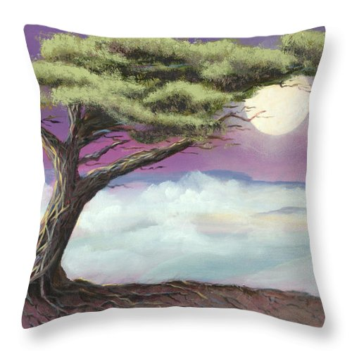 Landscape Throw Pillow featuring the painting Sentinel of the Canyon by Jerry McElroy