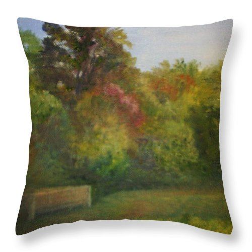 September Throw Pillow featuring the painting September in Smithville Park by Sheila Mashaw