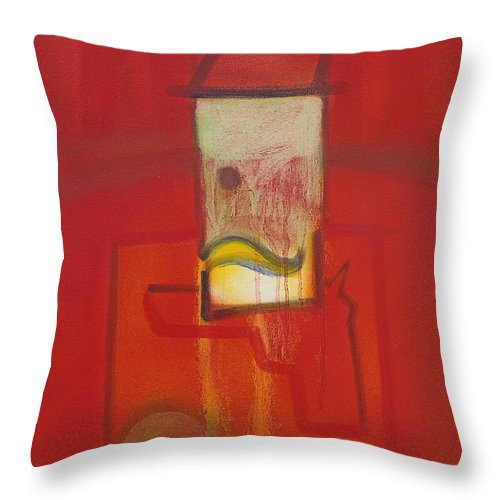 Red Throw Pillow featuring the painting Shadow of a Gunman by Charles Stuart