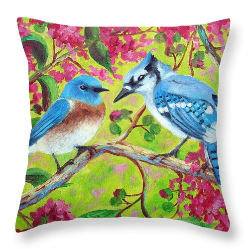 Birds Throw Pillow featuring the painting Sharing A Branch by David G Paul