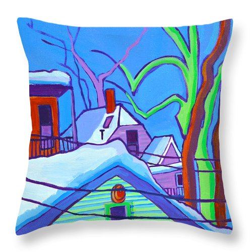 Buildings Throw Pillow featuring the painting Sheffield Winter by Debra Bretton Robinson