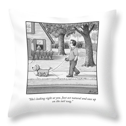 She's Looking Right At You Throw Pillow