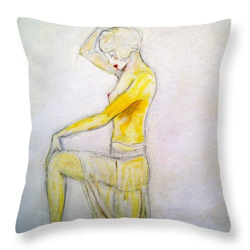 Glamour Throw Pillow featuring the painting Paris Showgirl by Tom Conway
