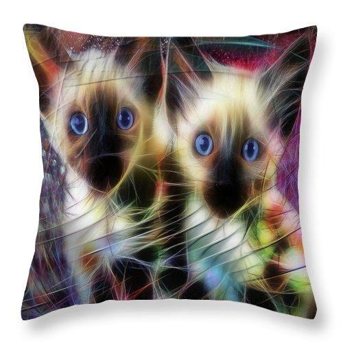 Cats Throw Pillow featuring the digital art Siamese Cuties by John Robert Beck