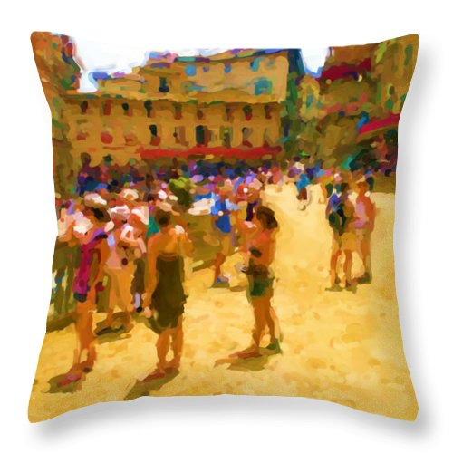 Sienna Throw Pillow featuring the mixed media Sienna by Asbjorn Lonvig