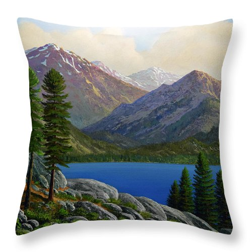 Landscape Throw Pillow featuring the painting Sierra Views by Frank Wilson