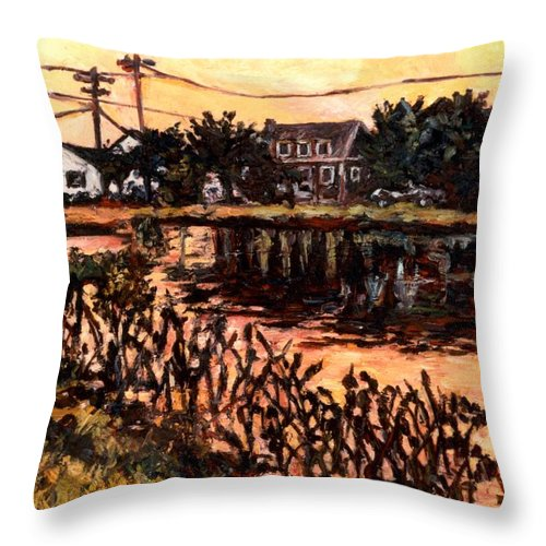Landscape Throw Pillow featuring the painting Silver Lake at Rehoboth Beach by Kendall Kessler