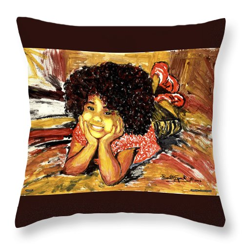 Everett Spruill Throw Pillow featuring the painting Simone by Everett Spruill