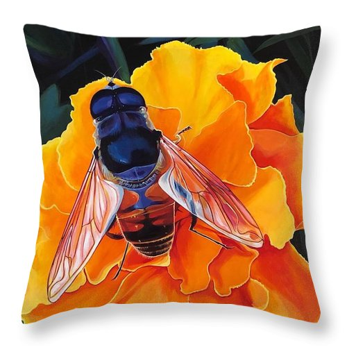 Acrylic On Linen Throw Pillow featuring the painting Simple Things by Hunter Jay