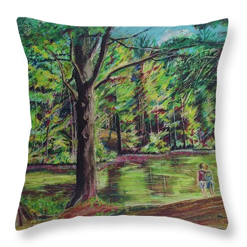 Family Throw Pillow featuring the pastel Sisters At Wason Pond by Sean Connolly