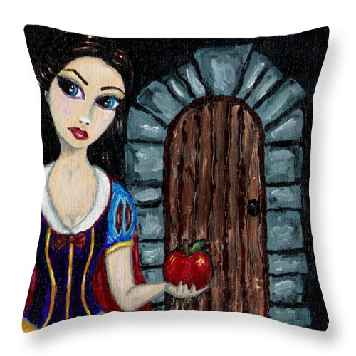Fairy Tale Throw Pillow featuring the painting Snow White Considers The Apple by Bronwen Skye