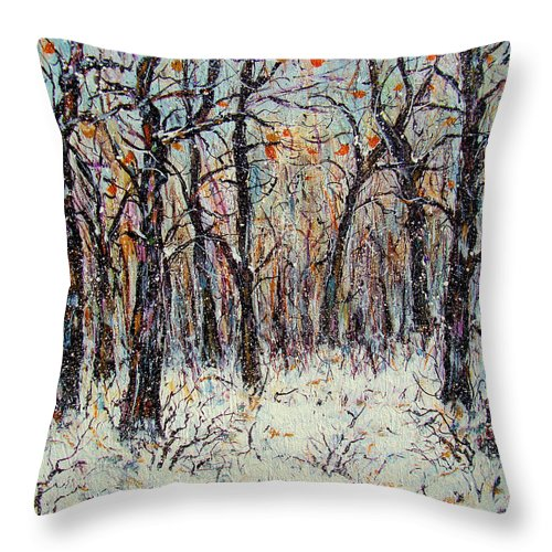 Landscape Throw Pillow featuring the painting Snowing In The Forest by Natalie Holland