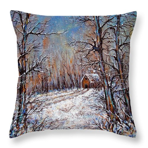 Landscape Throw Pillow featuring the painting Snowing in the Woods by Natalie Holland