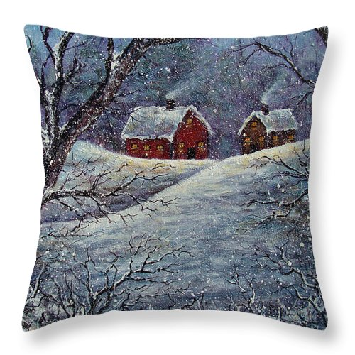 Landscape Throw Pillow featuring the painting Snowy Day by Natalie Holland