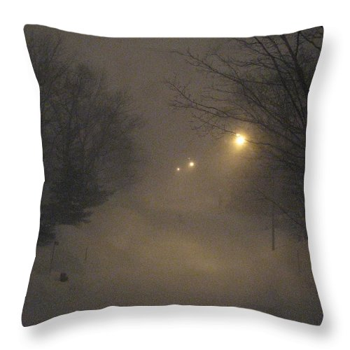Snow Throw Pillow featuring the photograph Snowy Night by Mary Ellen Mueller Legault