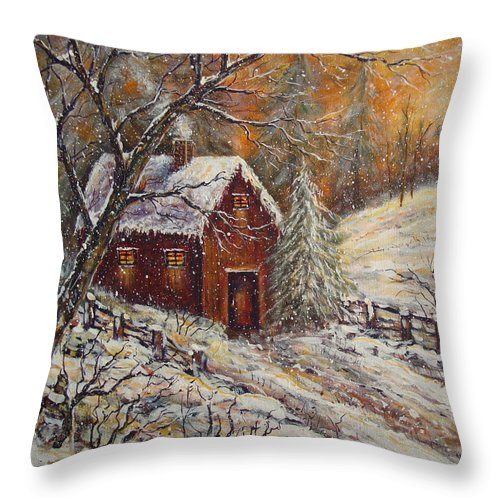 Landscape Throw Pillow featuring the painting Snowy Sunset by Natalie Holland