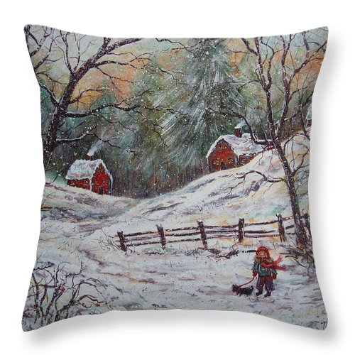 Landscape Throw Pillow featuring the painting Snowy Walk. by Natalie Holland