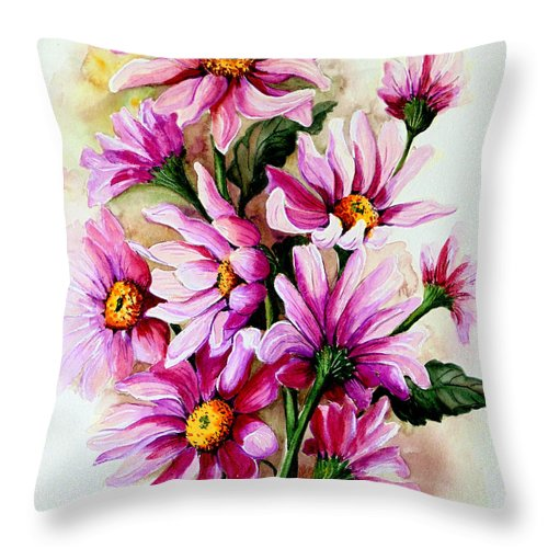 Pink Daisy Floral Painting Flower Painting Botanical Painting Bloom Painting Greeting Card Painting Throw Pillow featuring the painting So Pink by Karin Dawn Kelshall- Best
