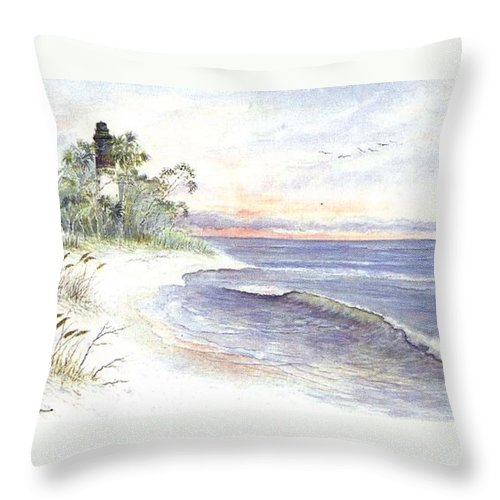Lighthouse Throw Pillow featuring the painting Solitude by Ben Kiger