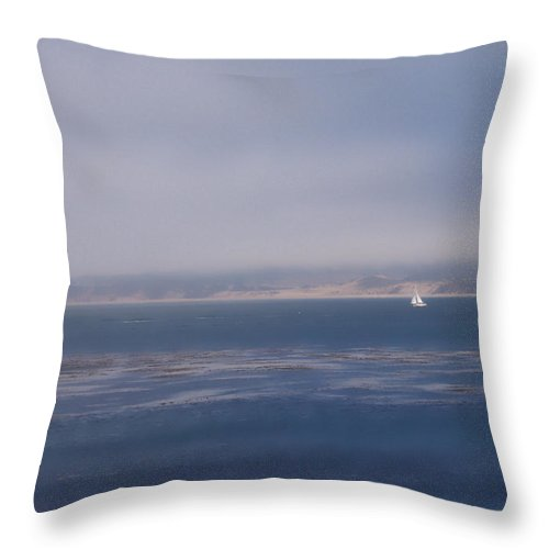 Sail Throw Pillow featuring the photograph Solo Sail In Monterey Bay by Pharris Art
