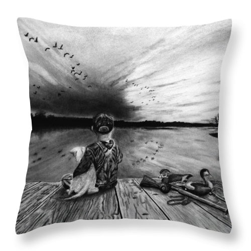 Some Day Girl Throw Pillow featuring the drawing Some Day Girl by Peter Piatt