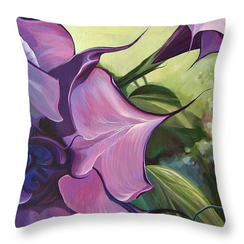 Jimson Weed Throw Pillow featuring the painting Sometimes In Summer by Hunter Jay