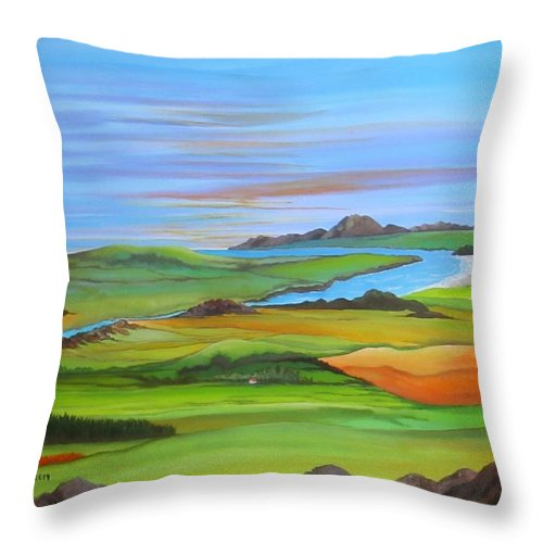 Scotland Throw Pillow featuring the painting Somewhere In Scotland by Carol Sabo