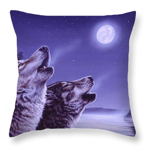 Wolf Throw Pillow featuring the painting Song of the North by Richard De Wolfe