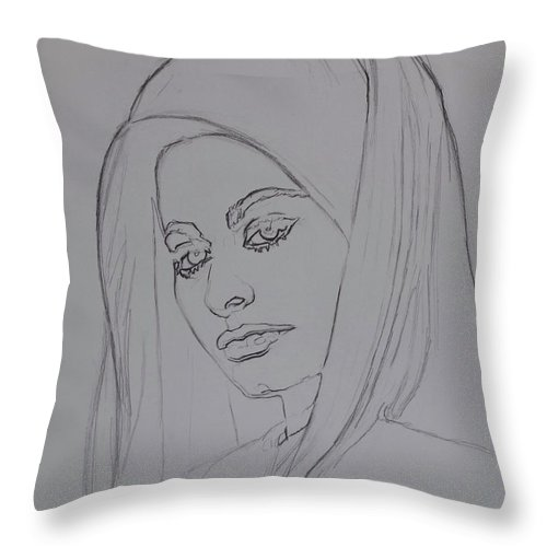 Woman Throw Pillow featuring the drawing Sophia Loren In Headdress by Sean Connolly
