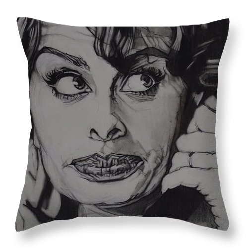 Charcoal On Paper Throw Pillow featuring the drawing Sophia Loren Telephones by Sean Connolly