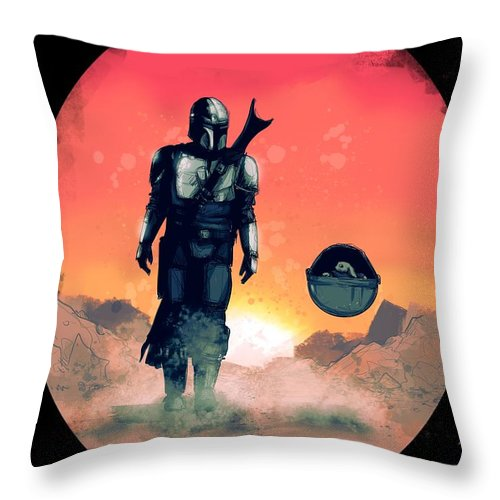 Mando Throw Pillow featuring the drawing Space Dad by Ludwig Van Bacon