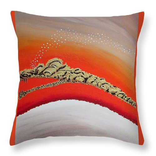 Dragon Throw Pillow featuring the painting Space Dragon by Carol Sabo