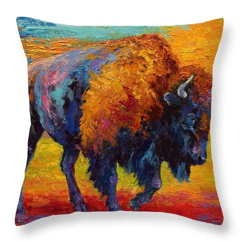 Bison Throw Pillow featuring the painting Spirit Of The Prairie by Marion Rose