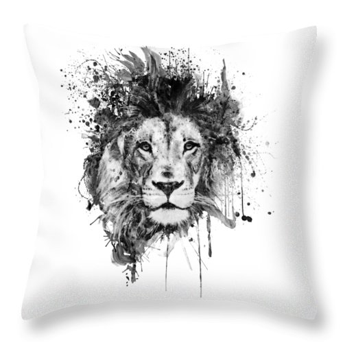 Splatters Throw Pillow featuring the painting Splattered Lion Black And White by Marian Voicu