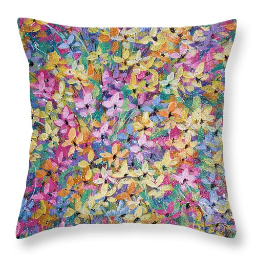 Flowers Throw Pillow featuring the painting Spring Floral Bouquet. by Natalie Holland