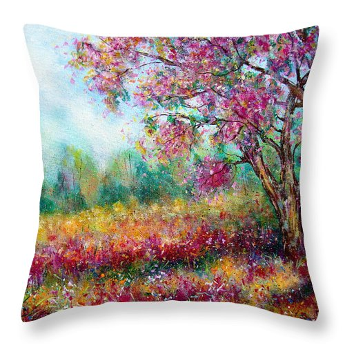 Landscape Throw Pillow featuring the painting Spring by Natalie Holland