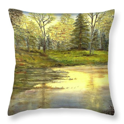 Landscape Trees Lake Reflections Throw Pillow featuring the painting Spring Time by Kenneth LePoidevin