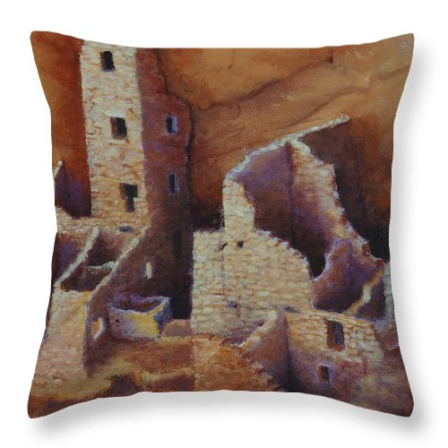 Anasazi Throw Pillow featuring the painting Square Tower Ruins by Jerry McElroy