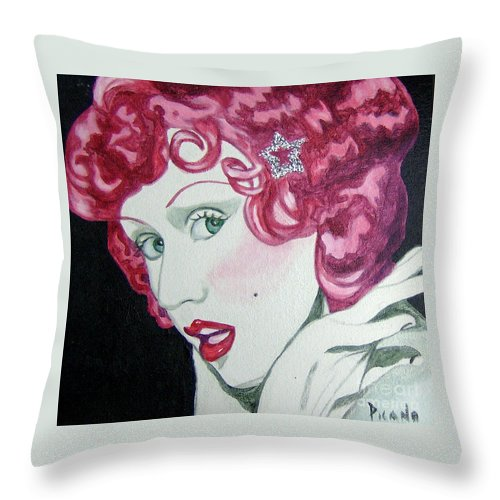 Christina Aguilera Throw Pillow featuring the painting Star by Holly Picano
