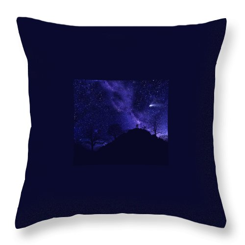 Starry Couple Throw Pillow featuring the painting Starry Couple Pointing Mural by Frank Wilson