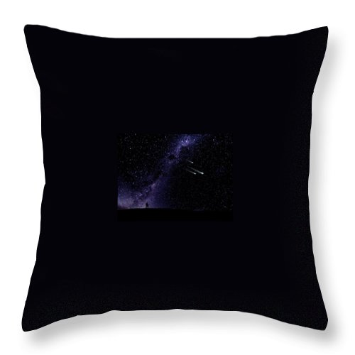 Starry Couple Watching Meteorites Throw Pillow featuring the painting Starry Couple Watching Meteorites Wall Mural by Frank Wilson