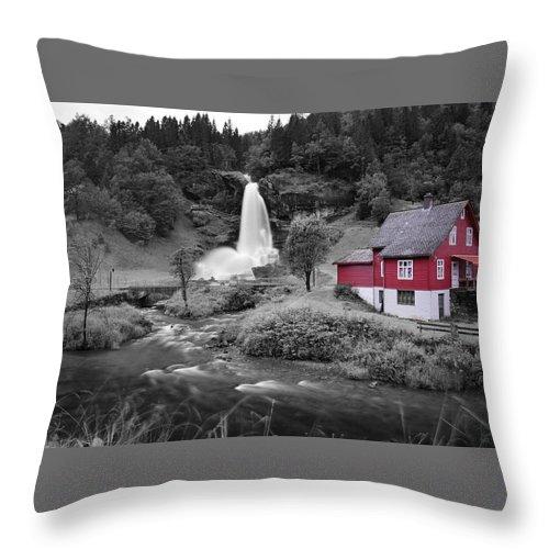 Throw Pillow featuring the photograph Steinsdalsfossen by Pop