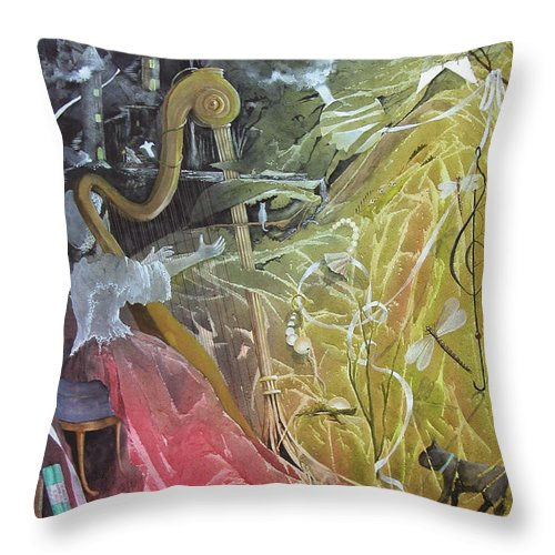 Harp Throw Pillow featuring the painting Stephanie's Sonata by Jackie Mueller-Jones