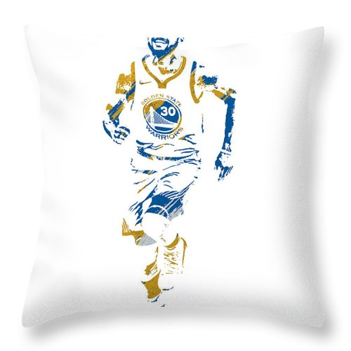 Stephen Curry Throw Pillow featuring the mixed media Stephen Curry Golden State Warriors Watercolor Strokes Pixel Art 2 by Joe Hamilton