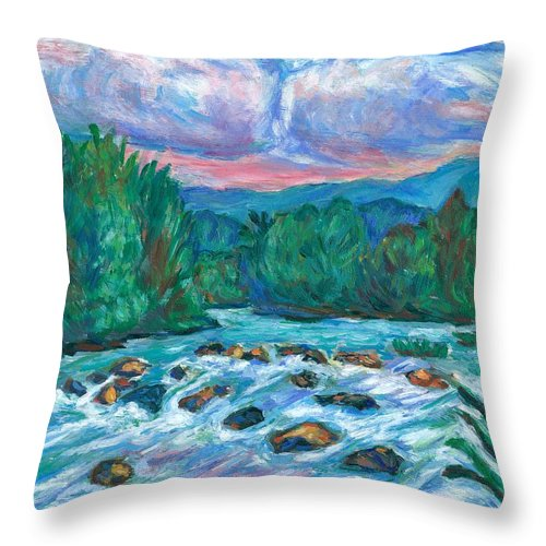 Landscape Throw Pillow featuring the painting Stepping Stones on the New River by Kendall Kessler